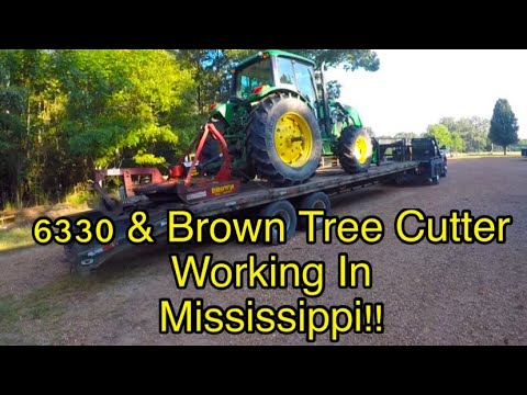 JOHN DEERE 6330 & THE BROWN TREE CUTTER WORKING IN MISSISSIPPI 👍👍👍