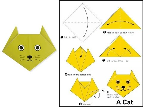 origami cat face youtube