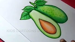 How to Draw Avocado Color Drawing for kids