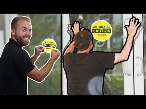 Putting Automatic Stickers on Manual Doors Prank