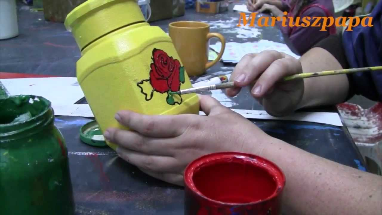 Decoupage Malowanie Róży Na Szkle Krok Po Kroku Youtube
