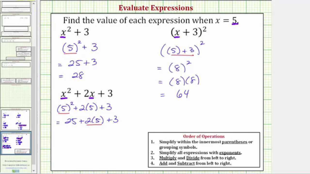 Ex Subsute And Evaluate Expressions X 2 3 2x