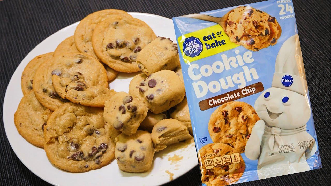 Eat Before Bake Pillsbury Chocolate Chip Cookie Dough Youtube