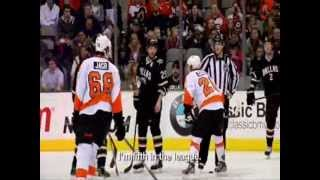 Claude Giroux and Peter Laviolette vs Steve Ott - Faceoff smack talking - Altercation 2011