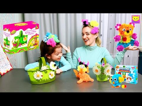 Ролик Делаем поделку Корзинка из фетра с банчемс/ Making crafts baskets with Velcro thorn ball clusters