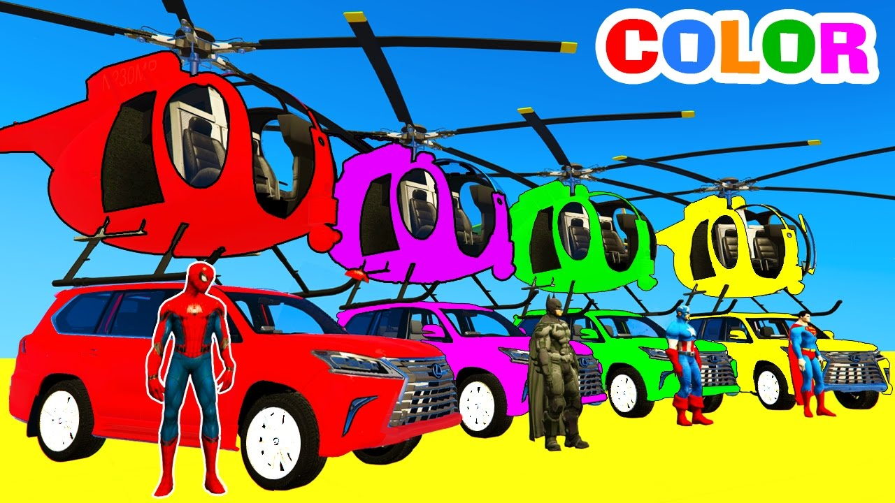 Color Cars Helicopter On Bus Spiderman Cartoon For Kids With