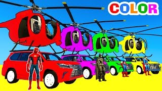 COLOR CARS Helicopter on BUS & Spiderman Cartoon for kids with Superheroes for babies!