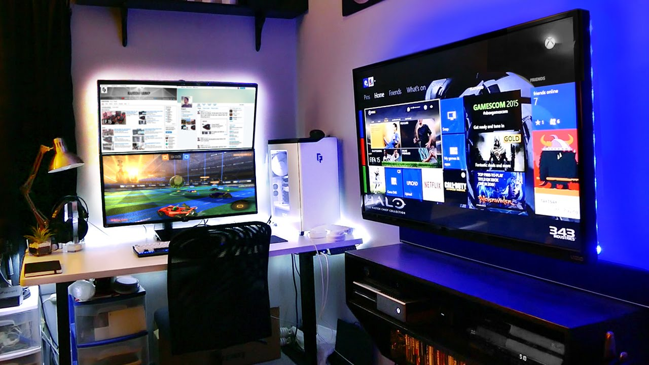 My insane gaming setup room tour 2015 summer youtube How to make a gaming setup in your room