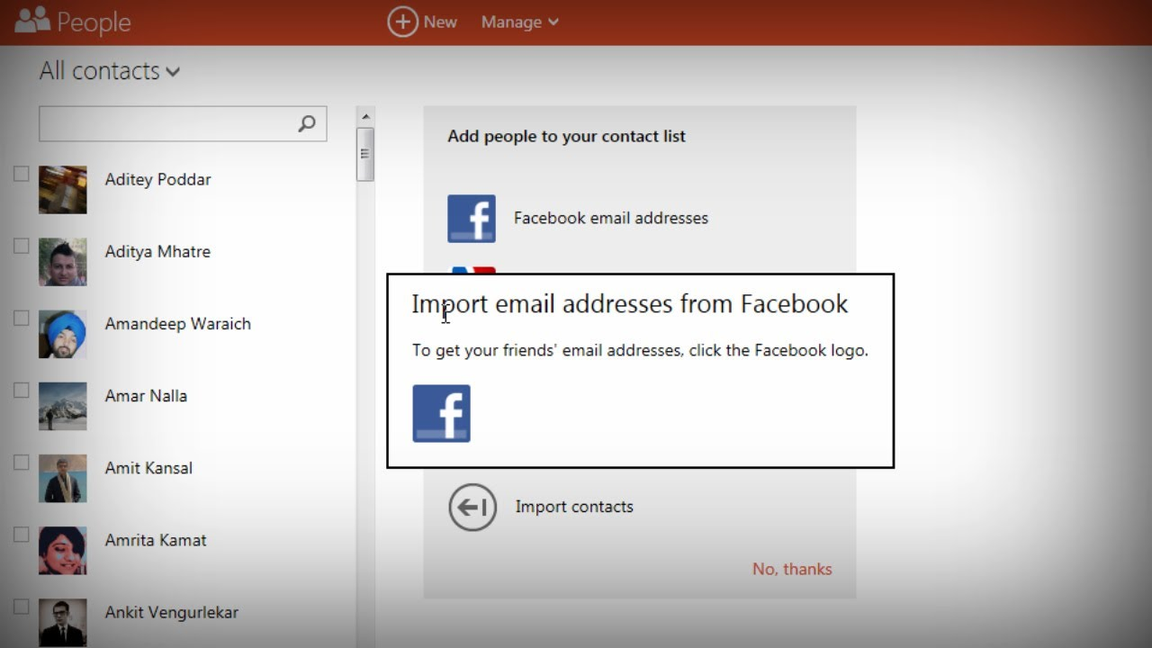 import facebook email addresses into outlook hotmail youtube