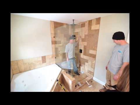Nosbush Glass Co. Installing a Custom Glass Shower Door and Enclosure, New Ulm MN