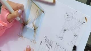 🎓Как нарисовать штору? Пробный урок из курса по текстурам в интерьерном скетчинге