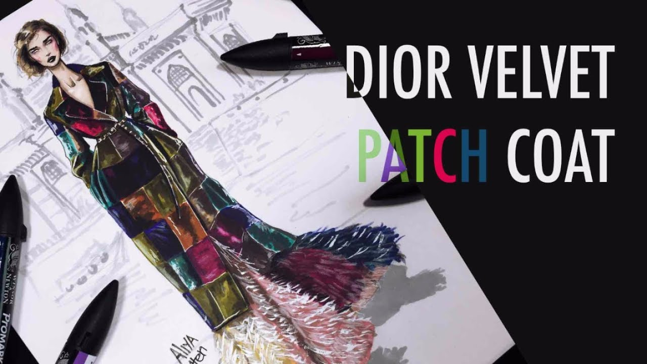 C for Christian Dior. PATCHED VELVET+FEATHER | Fashion Drawing