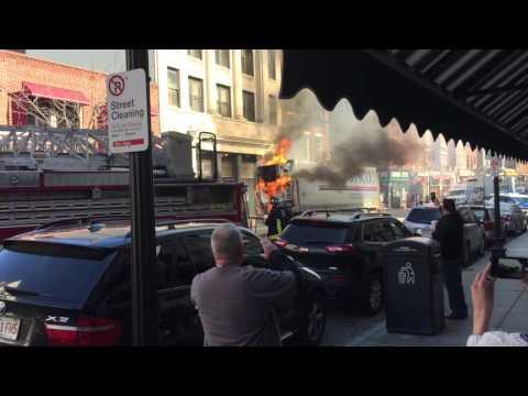 BOSTON FIRE North End Sysco Truck Fire on Apr 13, 2015