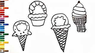 4 Ice Cream Cone Drawing How to Draw and Paint Ice Cream Coloring Book Fun Painting