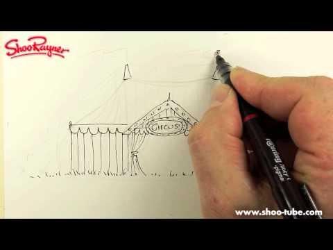 How to draw a Circus Tent & How to draw a Circus Tent - YouTube