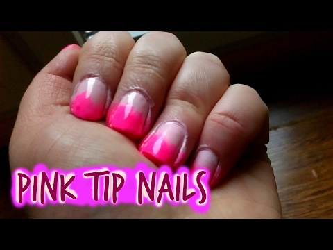 Valentine's Day Nail art Tutorial   Pink Tips Nails  CutePatzie