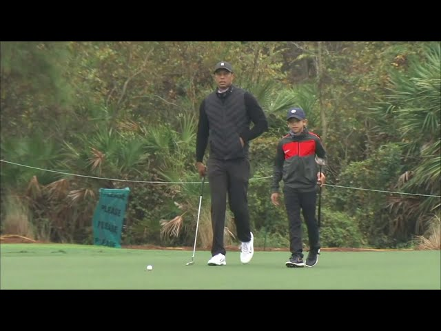 Tiger Woods Practices With His Son Charlie Ahead Of PNC Championship