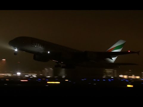 Night Take off Emirates Airbus A380 at Airbus Plant Hamburg Finkenwerder