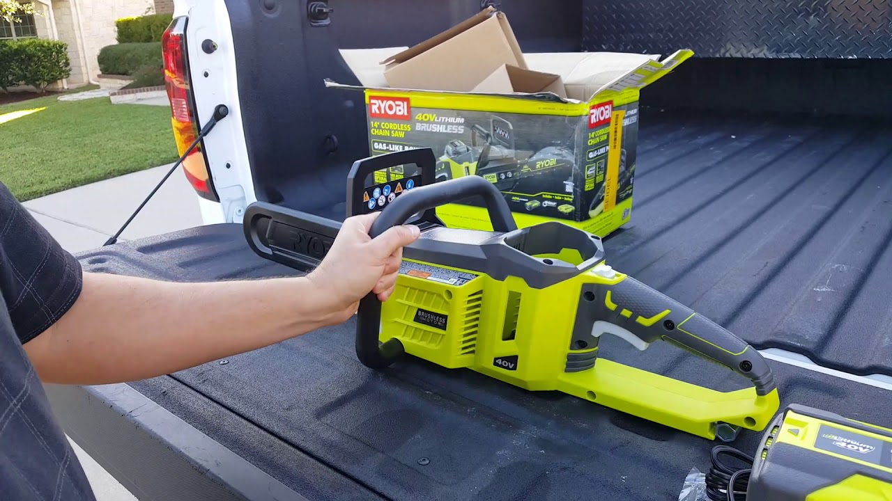 Unboxing a ryobi 40 volt 14 chain saw youtube unboxing a ryobi 40 volt 14 chain saw greentooth Choice Image