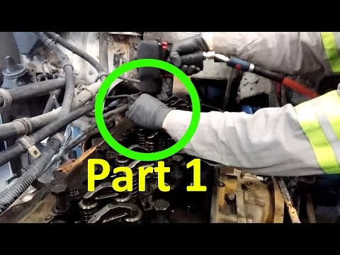 How To Rebuild A Diesel Engine.  Part 1.  Cylinder Head Disassembly And Removal. Twin Turbo Cat C13.