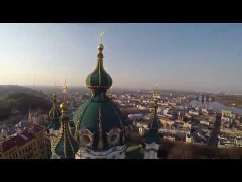 4K quadcopter Kiev Andreevska church, str Vozdvejenskaya. Киев Андреевская церковь, ул Воздвиженская