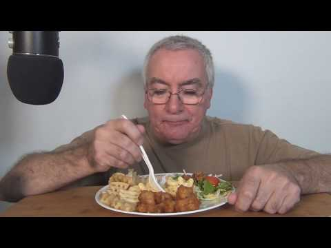 ASMR Eating Chick-fil-A Mac & Cheese Chicken Nuggets Waffle Fries Salad