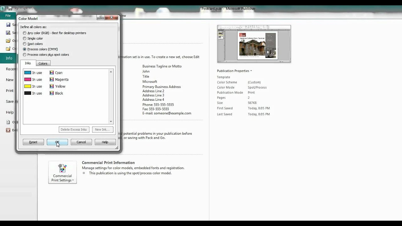 Microsoft Publisher Tutorial to Setup Files for Print