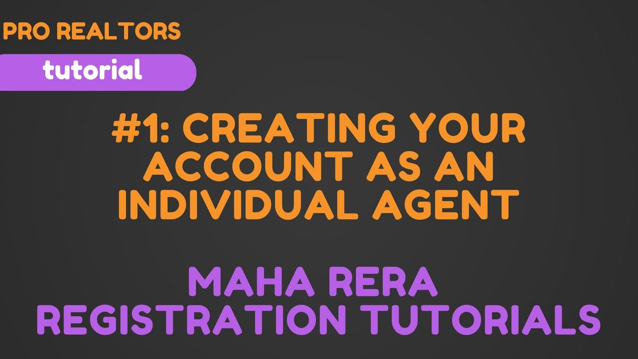 Log in to your account sign up as inidual sign up as builder agent -  1 Creating Your Account As An Individual Agent Maha Rera Registration Tutorial