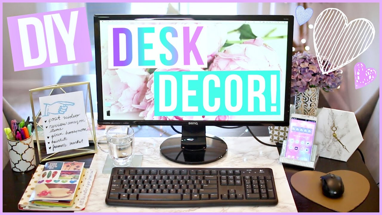 DIY Desk Decor Ideas ♡ Desk Makeover Part 1   YouTube