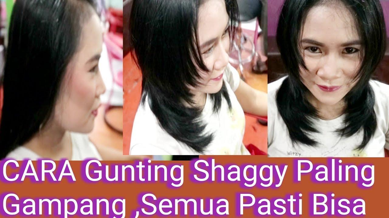 Potongan Rambut Layer Gampang Tutorial Gunting Rambut Shaggy Simple Youtube