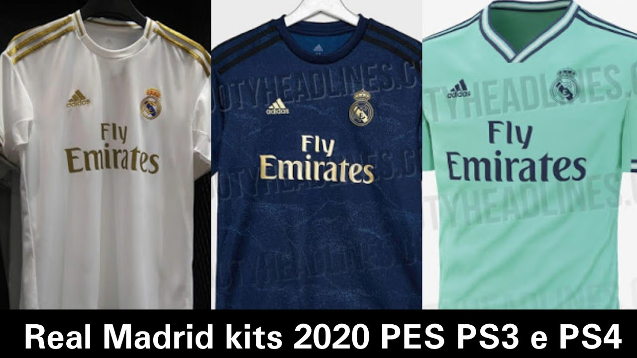 purchase cheap b6fc0 21b08 Real Madrid kits 2020 PES 2018 PS3 e PS4 (home,away,third)