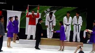 Afghanistan national Taekwondo federation ANTF Nasar Ahmad Bahave Gold Medalest and national antoms cermony 5august 2009 1st martiol arts games Nesar medal awarding of 2009 Martiol Arts Games