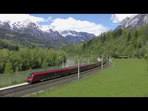 [ÖBB]Trains at Pfarrwerfen, Tennengebirge View in Austria
