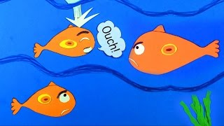 SAVE THE FISHY. Squishy foam & Paper cut-out stop motion video. For kids. Let's play kids.