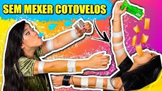FAZENDO DESAFIOS SEM MEXER OS COTOVELOS - MUITO DIFÍCIL! | Blog das irmãs