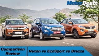 Tata Nexon vs Maruti Vitara Brezza vs Ford EcoSport - Automatic Rivalry | MotorBeam