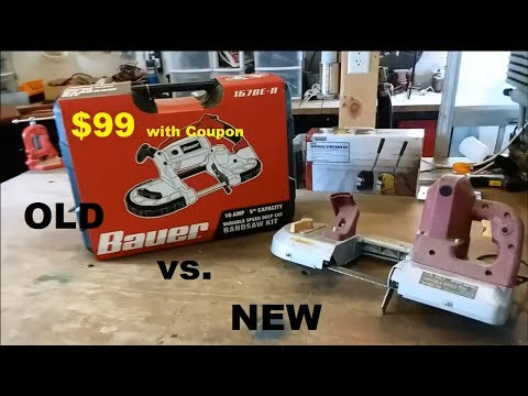 Harbor Freight band saw review old vs. new Bauer saw comparison
