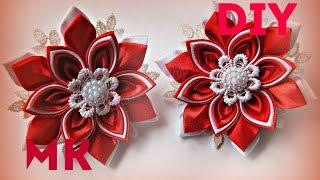Цветы из лент канзаши мастер класс \  Flowers kanzashi tapes