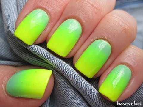 Pastel mint and neon yellow - Ombre nails - Zółty neon i ...