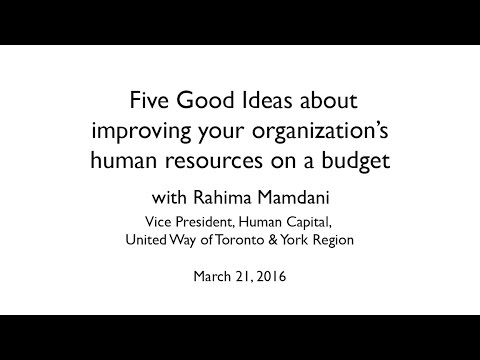 Five Good Ideas about improving your organization's human resources on a budget with Rahima Mamdani