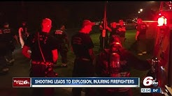 Shooting leads to explosion; firefighters injured
