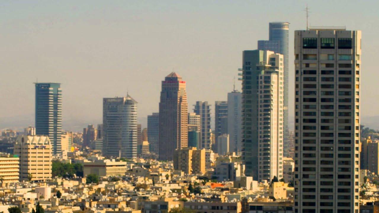 Panning shot of Tel Aviv skyline shot in Israel. - YouTube