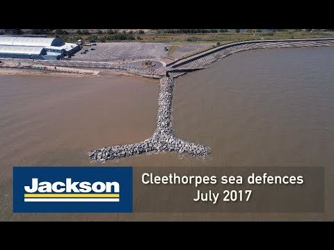 Cleethorpes sea defences 2017, construction viewed by drone