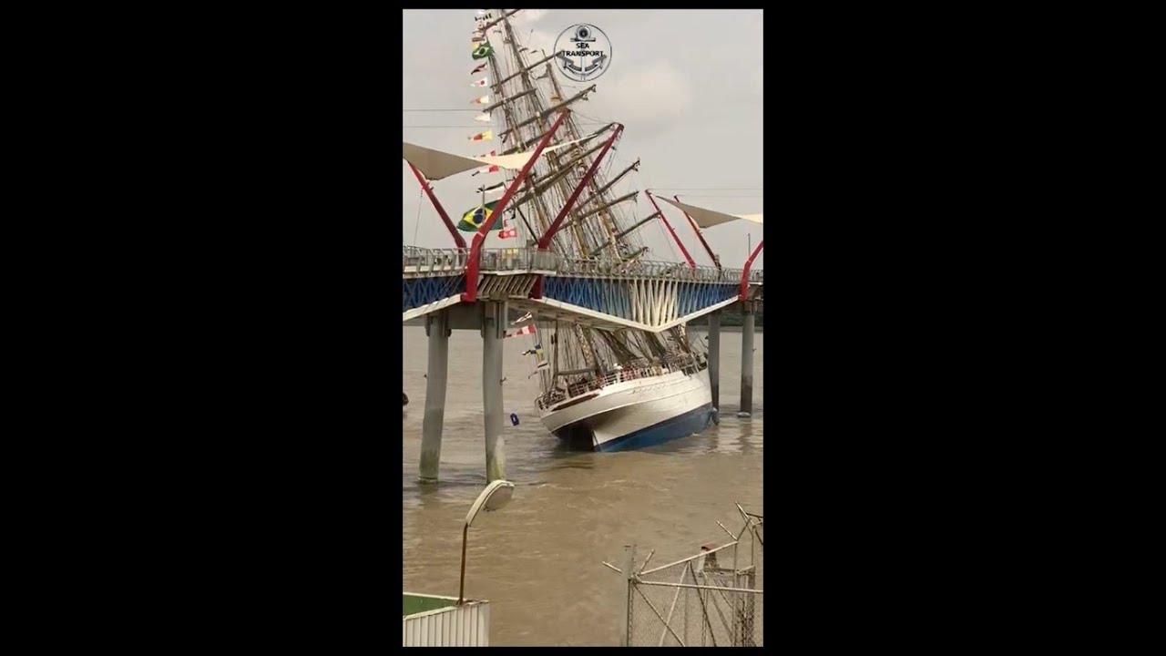 Download The Brazilian-flagged ship Cisne Branco collided this afternoon with a segment of pedestrian bridge.