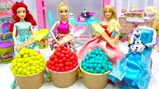 Learn Colors with Play Doh Dippin Dots Ice Cream Cups Barbie Surprise Eggs LOL Surprise Toys