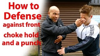 how to defend against front choke hold and a punch thumbnail