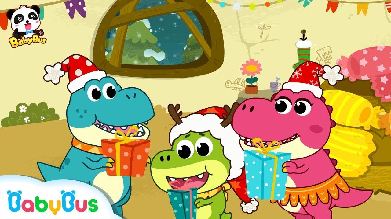 baby dinosaurs christmas eve wait for santa claus christmas stockings babybus