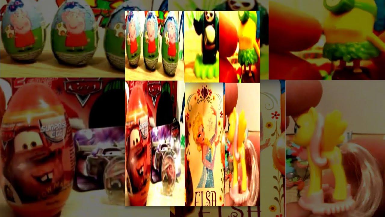 Disney Frozen Minions Peppa Pig Kung Fu Panda 3 My Little Pony Cars 139 Kinder Surprise Eggs #35