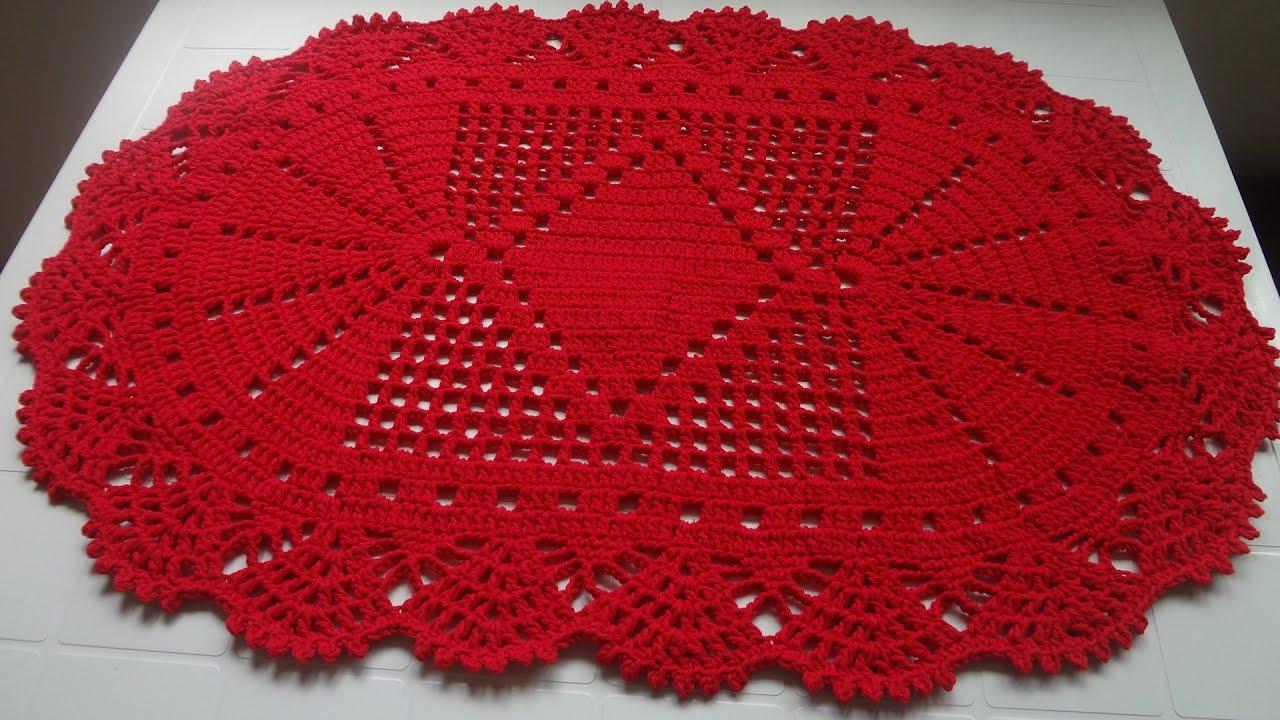 tapete oval vermelho   croch para canhotos 1 2   youtube