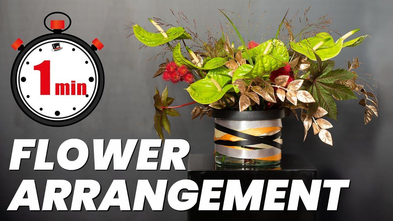 1 minute non floral foam flower arrangement tutorial with Anthurium Grand Slam